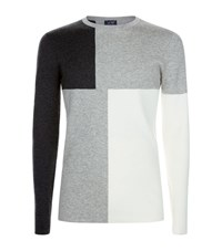 Armani Jeans Colour Block Knit Sweater Male Grey