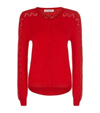 Sandro Gaby Crochet Cardigan Female Red
