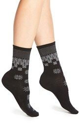 Women's Smartwool 'Shimmering Snow' Merino Wool Blend Crew Socks Black