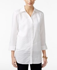 Jm Collection Embellished Eyelet Shirt Only At Macy's Bright White