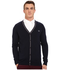 Fred Perry School Tipped Cardigan Dark Carbon Men's Sweater Navy
