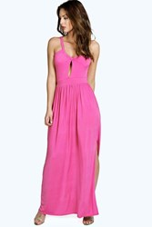 Boohoo Slinky Cutout Shoulder Detail Maxi Dress Lipstick