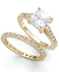 B. Brilliant Giani Bernini Sterling Silver Rings Set Cubic Zirconia Princess Cut Engagement Ring And Band Set In Sterling Silver Or 18K Gold Over Sterling Silver 2 1 5 Ct. T.W.
