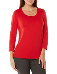 Rafaella Petite Solid Long Sleeve Tee Haute Red