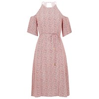 Whistles Double Dot Silk Dress Pink
