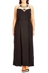 City Chic Plus Size Women's 'Nile Princess' Embellished Halter Maxi Dress Black