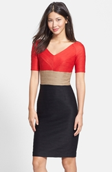 Nue By Shani Ottoman Knit Colorblock Sheath Dress Red Nude Black