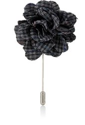 Lanvin Men's Checked Rose Tie Pin Dark Grey