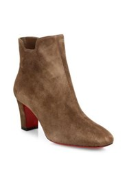 Christian Louboutin Suede Mid Block Heel Ankle Boots Chatain