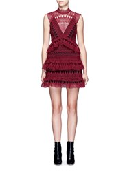 Self Portrait Teardrop Geometric Guipure Lace Tiered Dress