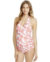 Jessica Simpson Maternity Floral Print Tankini Swimsuit Orange White Floral