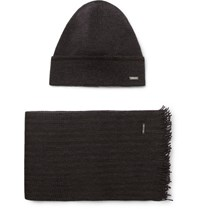 Hugo Boss Marros Striped Virgin Wool Blend Hat And Scarf Set Gray