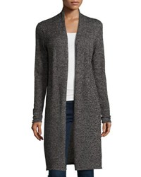 In Cashmere Marled Yarn Long Open Cardigan Black White