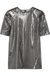 Opening Ceremony Alice Pleated Silk Blend Lame Top Silver