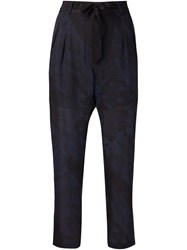 Raquel Allegra Printed Cropped Trousers Blue