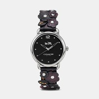 Coach Delancey Leather Strap Watch With Floral Applique Black