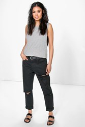 Boohoo High Rise All Over Ripped Boyfriend Jeans Black