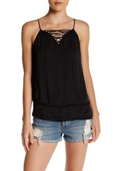 Ro And De Lace Up Tiered Tank Blue