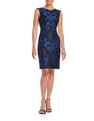 Vince Camuto Embroidered Lace Sheath Dress Navy Blue