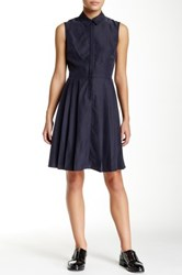Yigal Azrouel Pleated Skirt Dress Blue