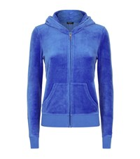 Juicy Couture Floral Logo Velour Hoodie Female Blue