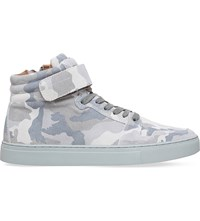 Kg By Kurt Geiger Anderson Camouflage Print Suede Trainers Grey