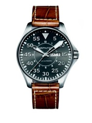 Hamilton Khaki Aviation Pilot Auto Stainless Steel And Embossed Leather Strap Watch Tan Silver