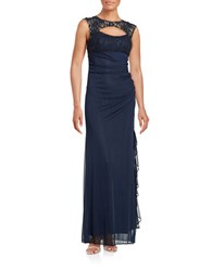 Betsy And Adam Lace Trimmed Ruched Gown Navy