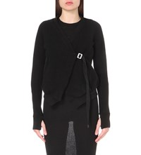 Boris Bidjan Saberi Wrap Style Cotton And Cashmere Blend Cardigan Black