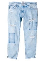 Mango Cropped Relaxed Jeans Open Blue