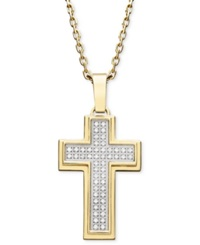 Macy's Men's Diamond Cross Pendant Necklace In Gold Ion Plated Stainless Steel 1 4 Ct. T.W.