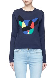 Etre Cecile 'Olympic Dog' Collage Intarsia Sweater Blue