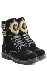Balmain Eagle Velvet Ankle Boots With Embroidery Black