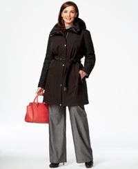 Michael Michael Kors Plus Size Faux Leather Trim Quilted Sleeve Trench Coat