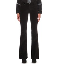 Paige Bell Canyon Flared High Rise Velvet Jeans Black