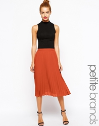 True Decadence Petite Pleated Chiffon Midi Skirt Orange