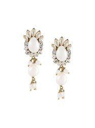 Shourouk Small 'Isadora' Clip On Earrings White