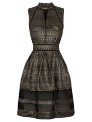 Oasis Aztec Skater Dress Black Multi
