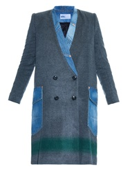 Kolor Stripe Wool Blend And Denim Coat