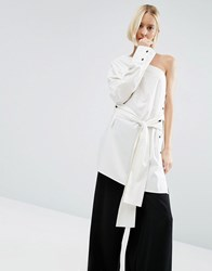 Weekday Press Pack One Shoulder Top With Tie Front Off White Cream