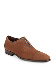 Mezlan Whipstitched Suede Oxfords Brown