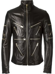 Dolce And Gabbana Zip Detail Leather Jacket Black