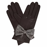 Gizelle Renee Josephine Black Leather Gloves With Black Speckle Wool