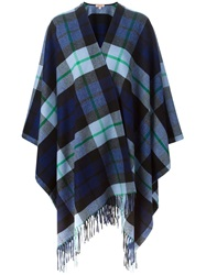 P.A.R.O.S.H. Plaid Poncho Cape Blue