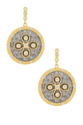 Freida Rothman Two Tone Round Hammered Floral Cz Earrings Black