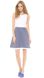 Lisa Perry Waisted Mini Dots Dress White Blue Dots