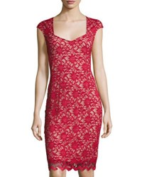 Neiman Marcus Lace Overlay Sheath Dress Black Nude