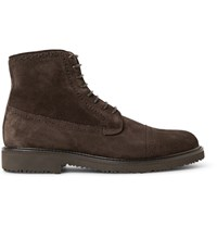 Ermenegildo Zegna Suede Brogue Boots Dark Brown