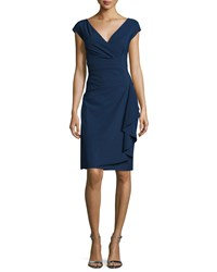 La Petite Robe Di Chiara Boni Charis Side Ruffle Cocktail Dress Blue Notte Size 4