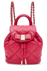Salvatore Ferragamo Quilted Leather Mini Backpack Pink